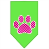 Mirage Pet Products Pink Swiss Dot Paw Screen Print Bandana Lime Green Large