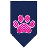 Mirage Pet Products Pink Swiss Dot Paw Screen Print Bandana Navy Blue large