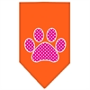 Mirage Pet Products Pink Swiss Dot Paw Screen Print Bandana Orange Small