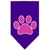 Mirage Pet Products Pink Swiss Dot Paw Screen Print Bandana Purple Large