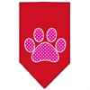 Mirage Pet Products Pink Swiss Dot Paw Screen Print Bandana Red Small