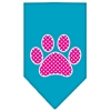 Mirage Pet Products Pink Swiss Dot Paw Screen Print Bandana Turquoise Large