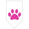 Mirage Pet Products Pink Swiss Dot Paw Screen Print Bandana White Small