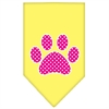 Mirage Pet Products Pink Swiss Dot Paw Screen Print Bandana Yellow Large