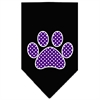 Mirage Pet Products Purple Swiss Dot Paw Screen Print Bandana Black Small