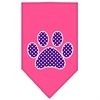 Mirage Pet Products Purple Swiss Dot Paw Screen Print Bandana Bright Pink Large
