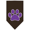 Mirage Pet Products Purple Swiss Dot Paw Screen Print Bandana Cocoa Large