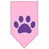 Mirage Pet Products Purple Swiss Dot Paw Screen Print Bandana Light Pink Large