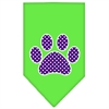 Mirage Pet Products Purple Swiss Dot Paw Screen Print Bandana Lime Green Small