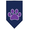 Mirage Pet Products Purple Swiss Dot Paw Screen Print Bandana Navy Blue large