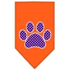 Mirage Pet Products Purple Swiss Dot Paw Screen Print Bandana Orange Small