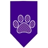 Mirage Pet Products Purple Swiss Dot Paw Screen Print Bandana Purple Large