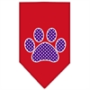 Mirage Pet Products Purple Swiss Dot Paw Screen Print Bandana Red Small