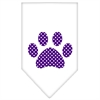 Mirage Pet Products Purple Swiss Dot Paw Screen Print Bandana White Small