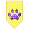 Mirage Pet Products Purple Swiss Dot Paw Screen Print Bandana Yellow Small