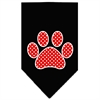 Mirage Pet Products Red Swiss Dot Paw Screen Print Bandana Black Large
