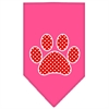 Mirage Pet Products Red Swiss Dot Paw Screen Print Bandana Bright Pink Large