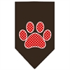Mirage Pet Products Red Swiss Dot Paw Screen Print Bandana Cocoa Large