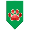 Mirage Pet Products Red Swiss Dot Paw Screen Print Bandana Emerald Green Small