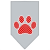 Mirage Pet Products Red Swiss Dot Paw Screen Print Bandana Grey Small