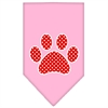 Mirage Pet Products Red Swiss Dot Paw Screen Print Bandana Light Pink Large