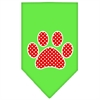 Mirage Pet Products Red Swiss Dot Paw Screen Print Bandana Lime Green Small