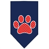 Mirage Pet Products Red Swiss Dot Paw Screen Print Bandana Navy Blue large