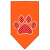 Mirage Pet Products Red Swiss Dot Paw Screen Print Bandana Orange Small