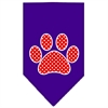 Mirage Pet Products Red Swiss Dot Paw Screen Print Bandana Purple Small