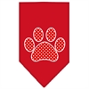 Mirage Pet Products Red Swiss Dot Paw Screen Print Bandana Red Large