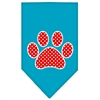 Mirage Pet Products Red Swiss Dot Paw Screen Print Bandana Turquoise Large