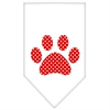 Mirage Pet Products Red Swiss Dot Paw Screen Print Bandana White Large