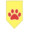 Mirage Pet Products Red Swiss Dot Paw Screen Print Bandana Yellow Small