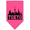 Mirage Pet Products Tokyo Skyline Screen Print Bandana Bright Pink Large