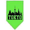 Mirage Pet Products Tokyo Skyline Screen Print Bandana Lime Green Small