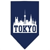 Mirage Pet Products Tokyo Skyline Screen Print Bandana Navy Blue large