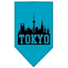 Mirage Pet Products Tokyo Skyline Screen Print Bandana Turquoise Small