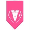 Mirage Pet Products Tuxedo Screen Print Bandana Bright Pink Large