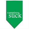 Mirage Pet Products Vampires Suck Screen Print Bandana Emerald Green Large