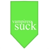 Mirage Pet Products Vampires Suck Screen Print Bandana Lime Green Small