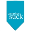 Mirage Pet Products Vampires Suck Screen Print Bandana Turquoise Small