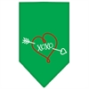 Mirage Pet Products XOXO Screen Print Bandana Emerald Green Small