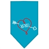 Mirage Pet Products XOXO Screen Print Bandana Turquoise Small