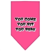 Mirage Pet Products You Come, You Sit, You Stay Screen Print Bandana Bright Pink Small