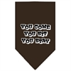 Mirage Pet Products You Come, You Sit, You Stay Screen Print Bandana Cocoa Large