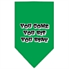 Mirage Pet Products You Come, You Sit, You Stay Screen Print Bandana Emerald Green Large