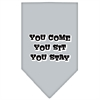 Mirage Pet Products You Come, You Sit, You Stay Screen Print Bandana Grey Large