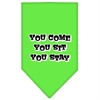 Mirage Pet Products You Come, You Sit, You Stay Screen Print Bandana Lime Green Large