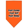 Mirage Pet Products You Come, You Sit, You Stay Screen Print Bandana Orange Small