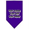 Mirage Pet Products You Come, You Sit, You Stay Screen Print Bandana Purple Small